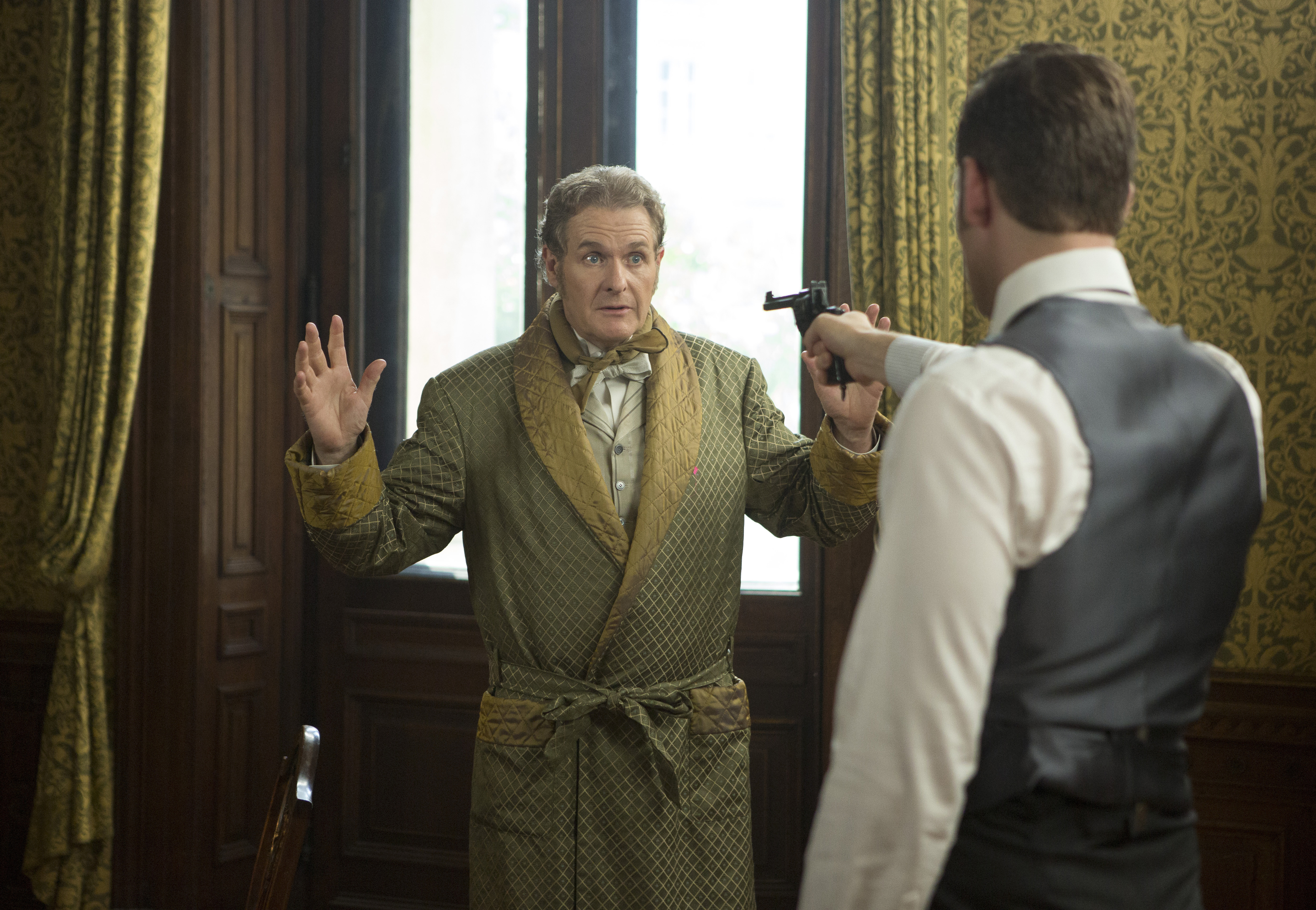"Dracula -  Jonathan Harker trains his pistol on Lord Thomas Davenport in episode 8, ""Come To Die"""