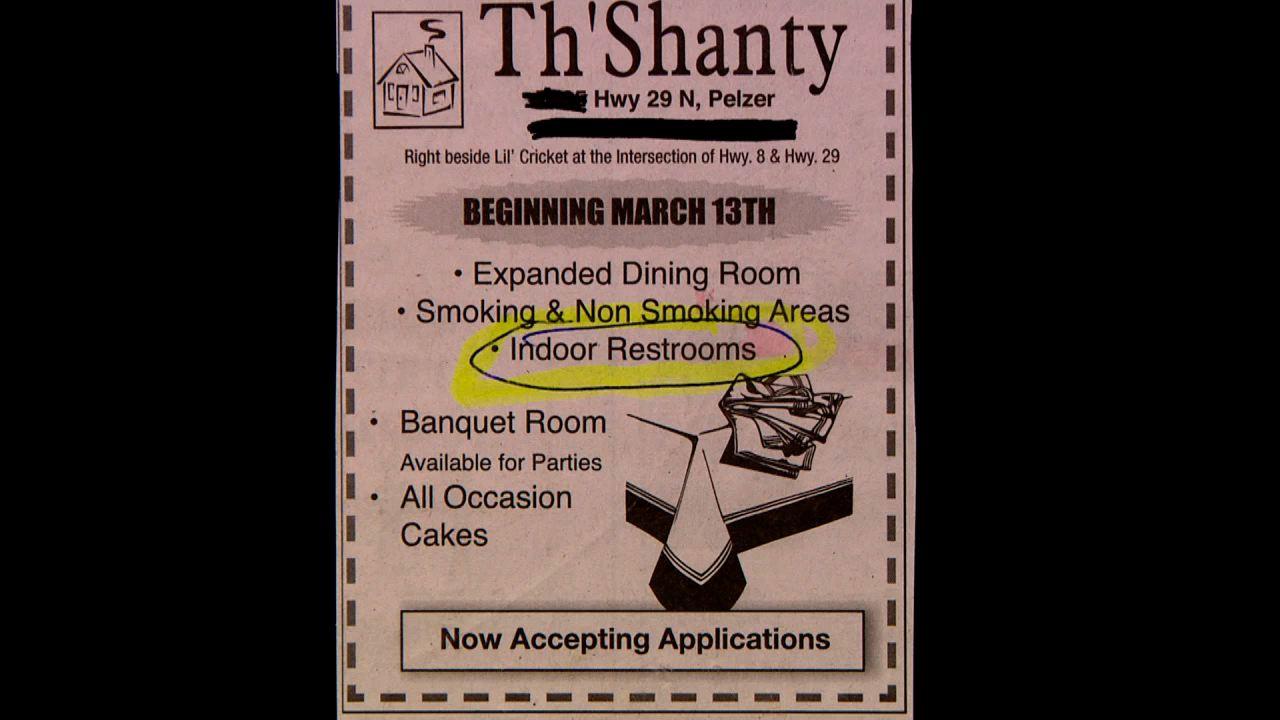 A restaurant with indoor restrooms? Wow!