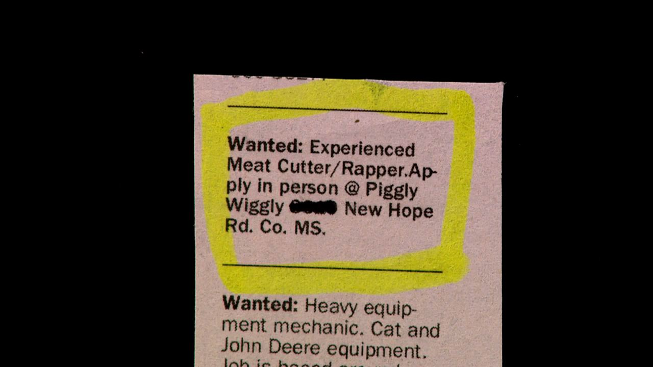 Experienced Meat Cutter/Rapper....not quite sure what that is?