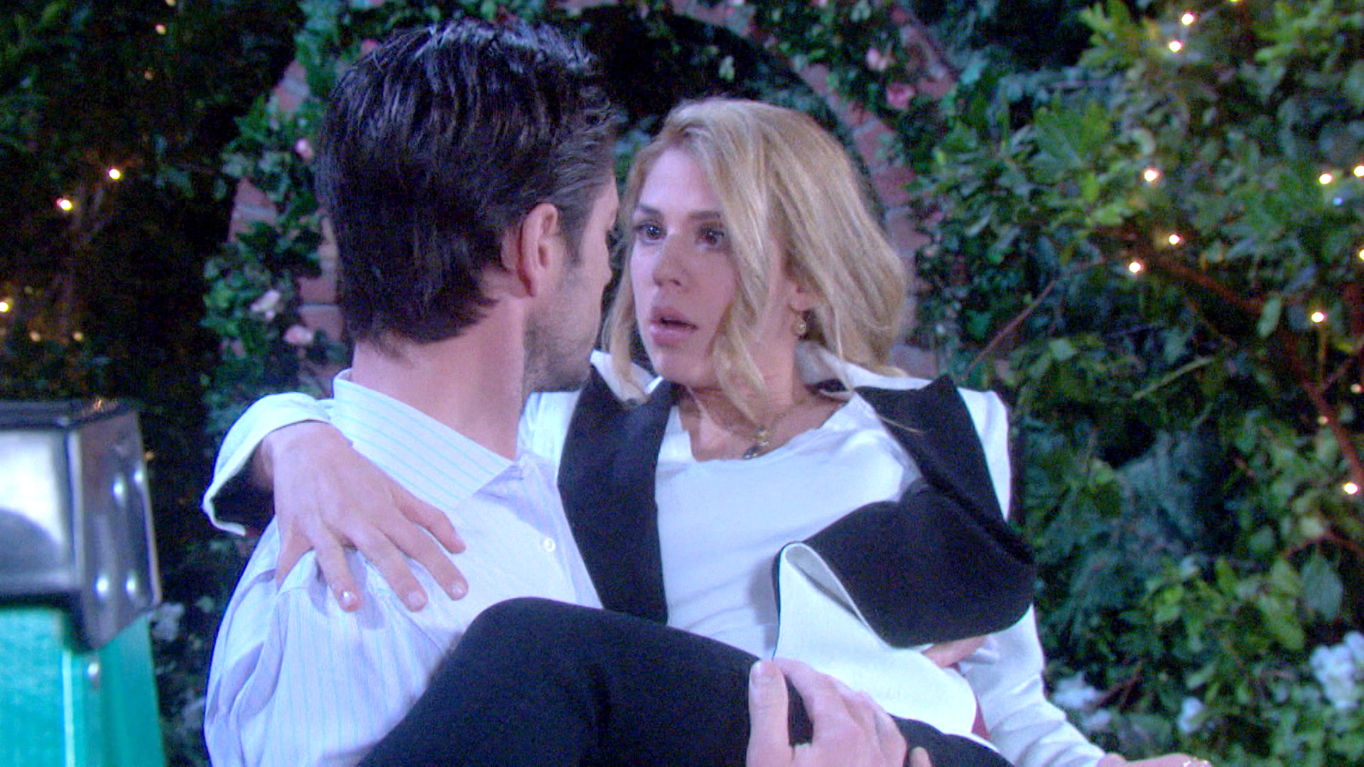 Abigail ends up in EJ's arms.