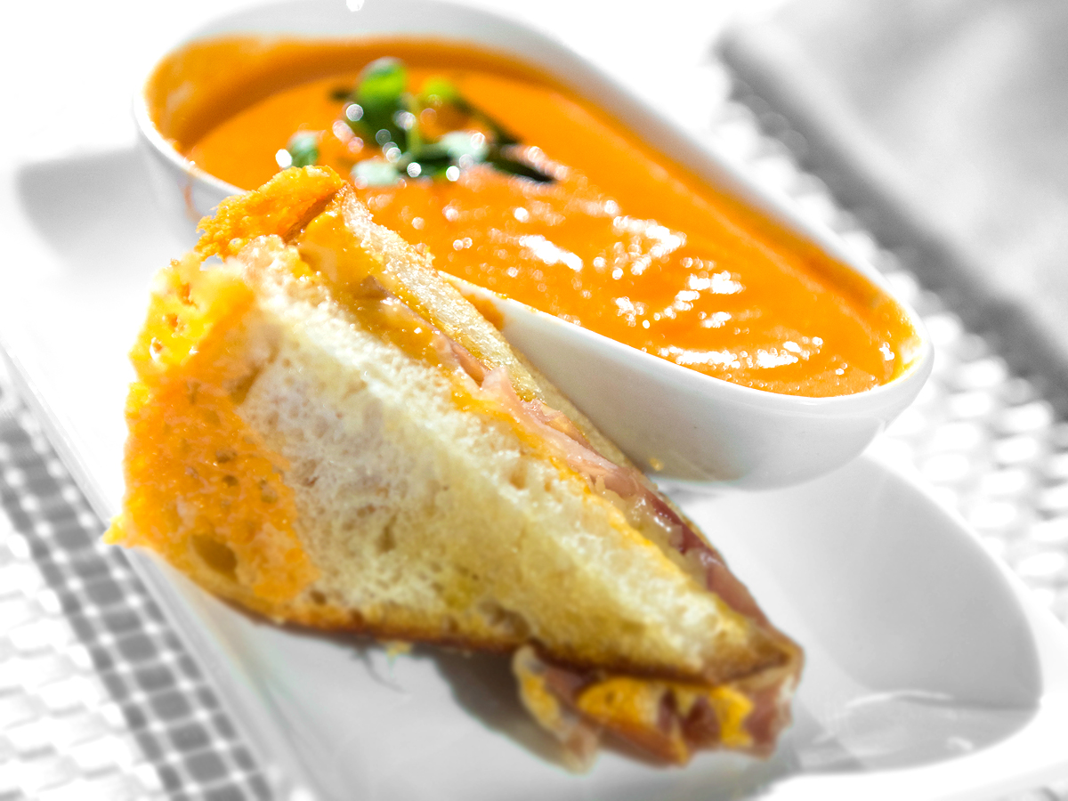Tomato Bisque and Prosciutto Grilled Cheese