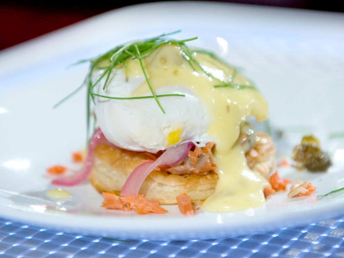 Eggs Benedict with Salmon and Pickled Onions