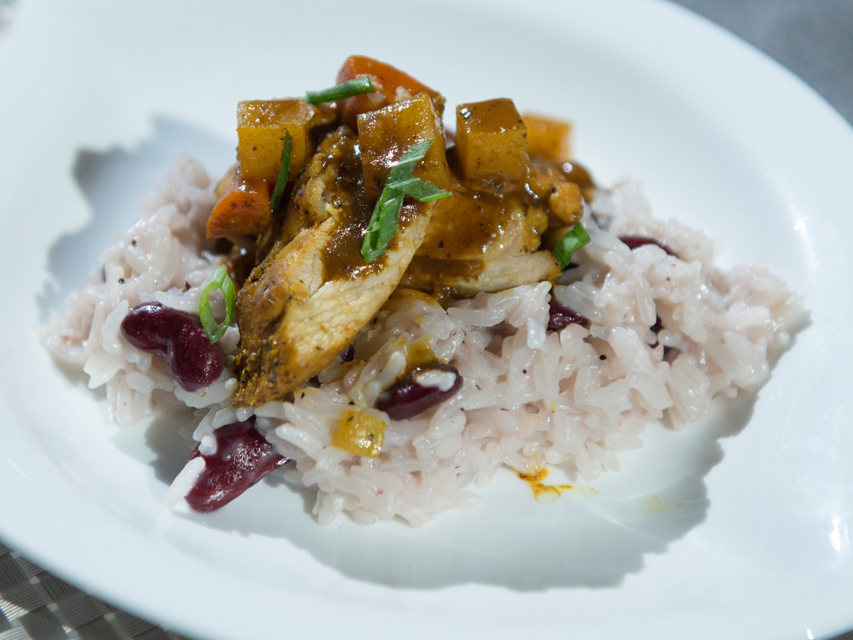 Caribbean Chicken with Coconut Rice and Beans