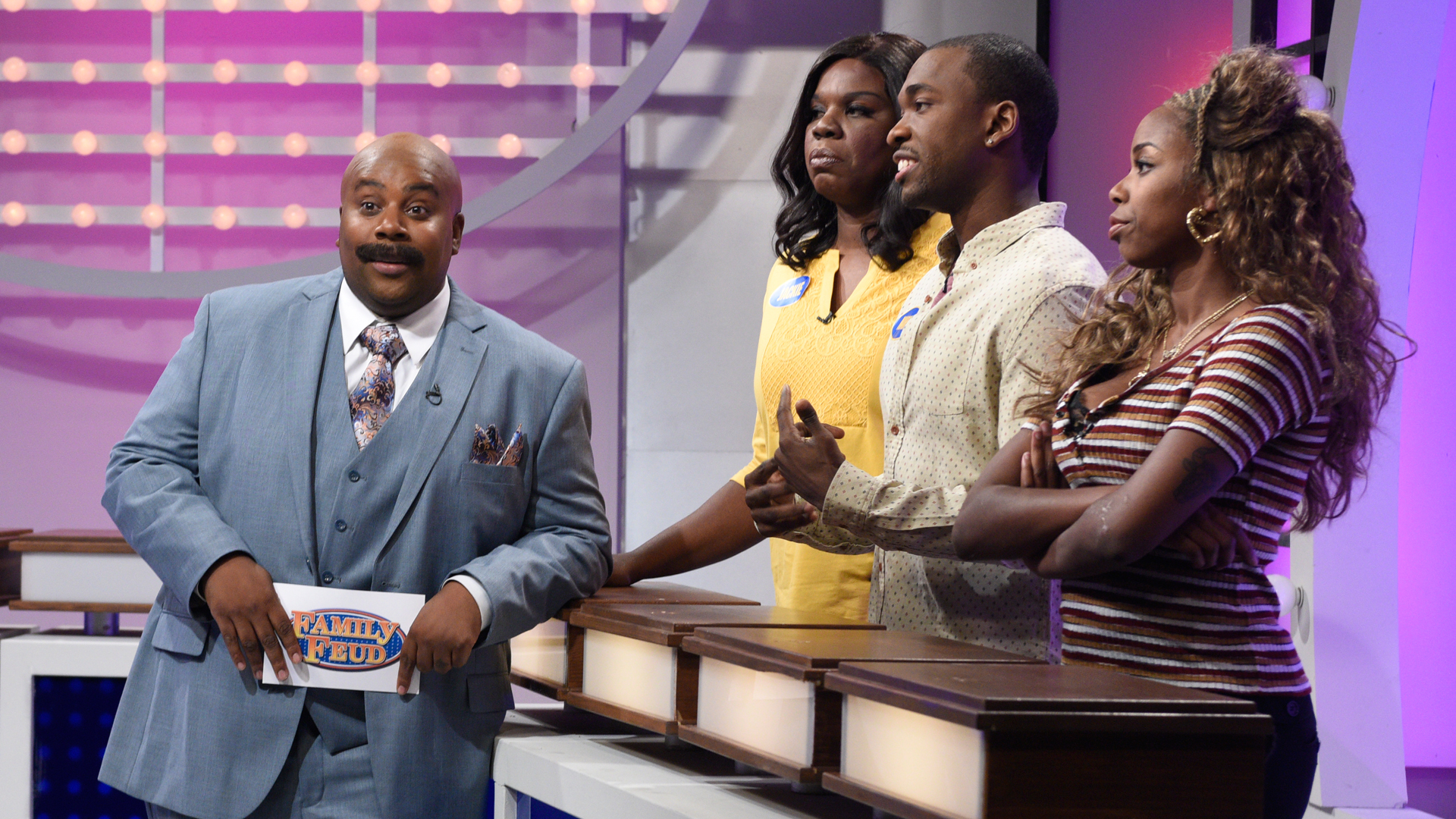 a family feud Survey says: play the family feud with your friends.