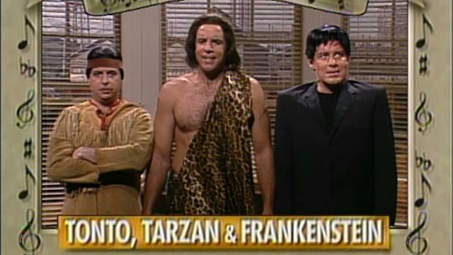 Watch tarzan sketches from snl played by kevin nealon nbc sing along with tonto tarzan and frankenstein m4hsunfo