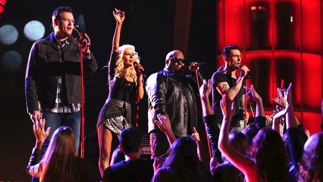 """Xtina, Blake, Adam and CeeLo: """"Pour Some Sugar on Me"""""""
