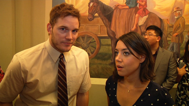 Chris Pratt and Aubrey Plaza 100th Episode Interview