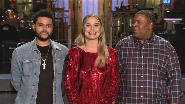 Margot Robbie Is Hosting SNL Alongside an Imposter of The Weeknd