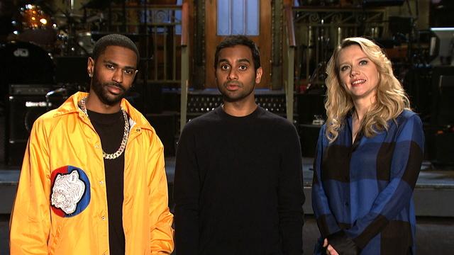 Aziz Ansari Hosts SNL with Big Sean and Medium Kate