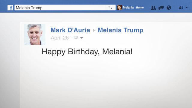 Melania Trump's Facebook Wall Birthday Wishes