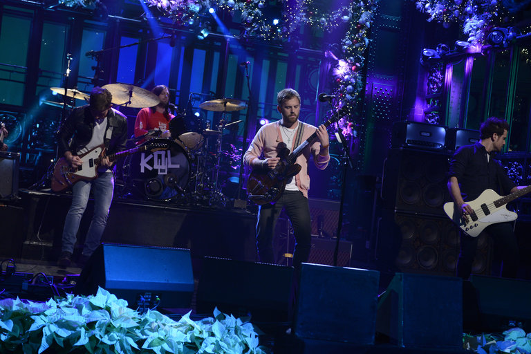 Kings of Leon performs on Saturday Night Live on December 14, 2013.
