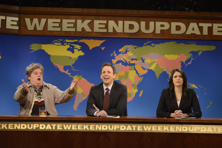 John Goodman hosts with musical guest Kings of Leon in episode 1650 of Saturday Night Live on December 14, 2013.