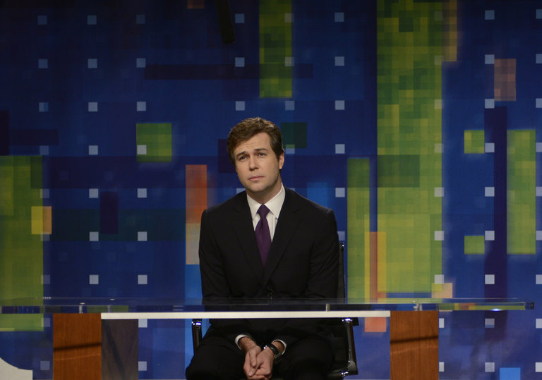 "Taran Killam in ""Piers Morgan Cold Open"" on Saturday Night Live on January 18, 2014."
