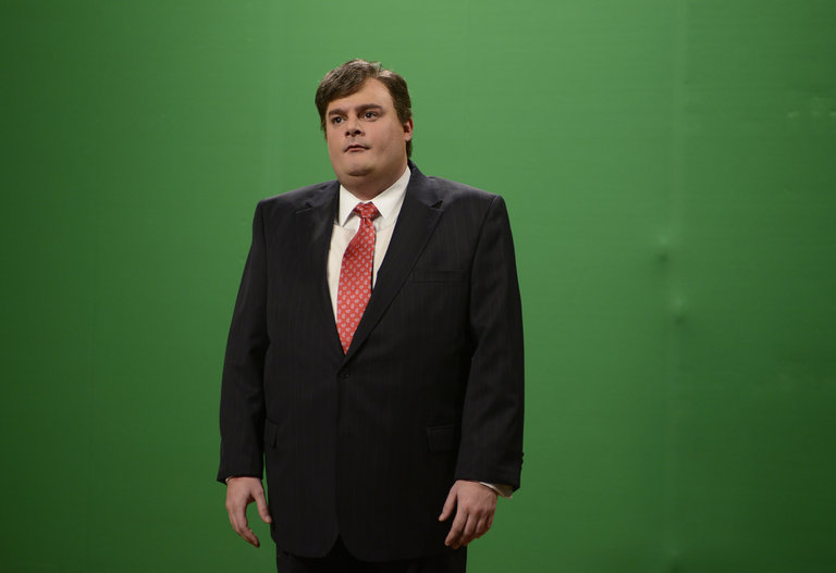 "Bobby Moynihan in ""Piers Morgan Cold Open"" on Saturday Night Live on January 18, 2014."