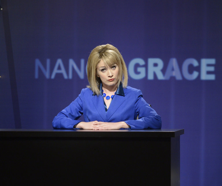 "Noel Wells in ""Nancy Grace"" on Saturday Night Live on January 18, 2014."
