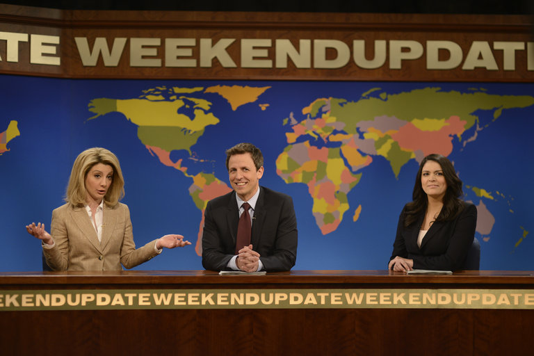 "Nasim Pedrad as Arianna Huffington on ""Weekend Update"" on Saturday Night Live on January 18, 2014."