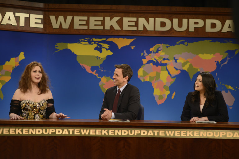 "Vanessa Bayer as Jacqueline Bisset on ""Weekend Update"" on Saturday Night Live on January 18, 2014."