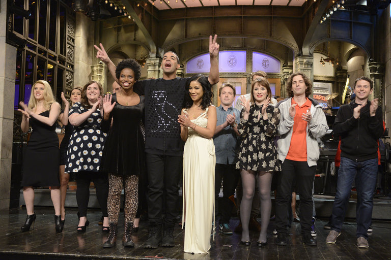 Host and musical guest Drake says goodnight on Saturday Night Live on January 18, 2014.