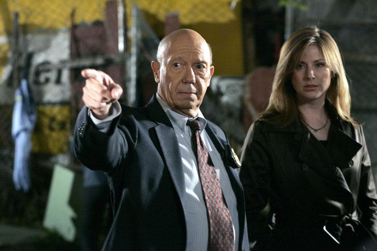 """LAW & ORDER: SPECIAL VICTIMS UNIT -- """"Cold"""" Episode 919 -- Pictured: (l-r) Dann Florek as Capt. Donald Cragen, Diane Neal as A.D.A. Casey Novak -- NBC Photo: Will Hart"""