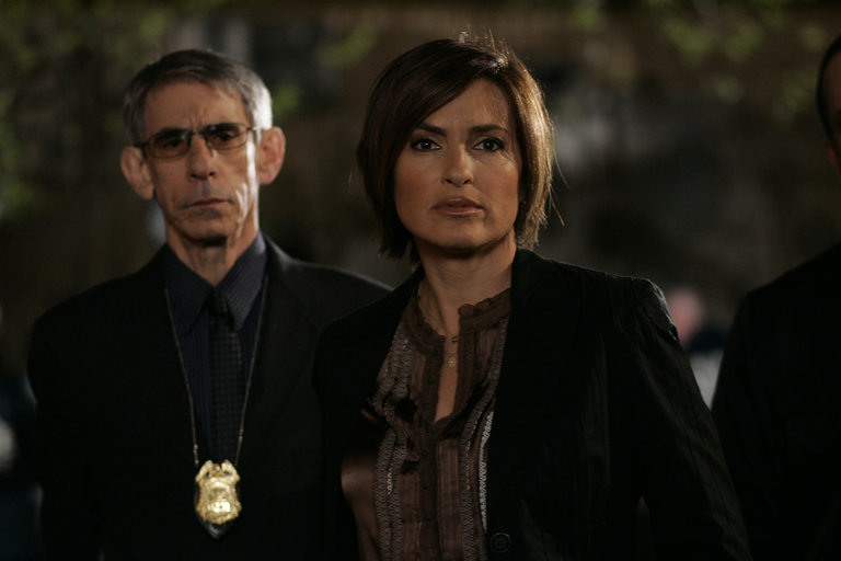 "LAW & ORDER: SPECIAL VICTIMS UNIT -- ""Cold"" Episode 919 -- Airdate 05/13/2008 --Pictured: (l-r) Richard Belzer as Det. John Munch, Mariska Hargitay as Det. Olivia Benson -- Photo by: Will Hart/NBCU Photo Bank"