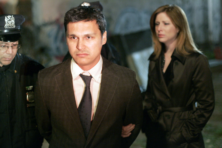 "LAW & ORDER: SPECIAL VICTIMS UNIT -- ""Cold"" Episode 919 -- Pictured: (l-r) Adam Beach as Det. Chester Lake, Diane Neal as A.D.A. Casey Novak -- NBC Photo: Will Hart"