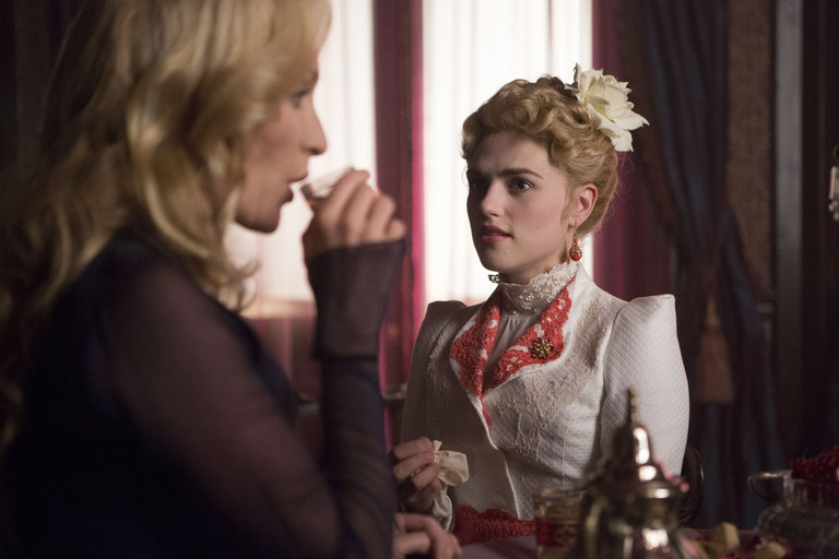 Pictured: (l-r) Victoria Smurfit as Lady Jayne Wetherby, Katie McGrath as Lucy Westenra -- (Photo by: Jonathon Hession/NBC)