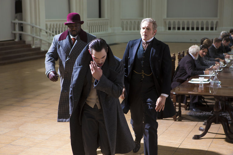 Pictured: (l-r) Nonso Anozie as R.M. Renfield, Jonathan Rhys Meyers as Alexander Grayson, Robert Bathurst as Lord Thomas Davenport -- (Photo by: Jonathon Hession/NBC)