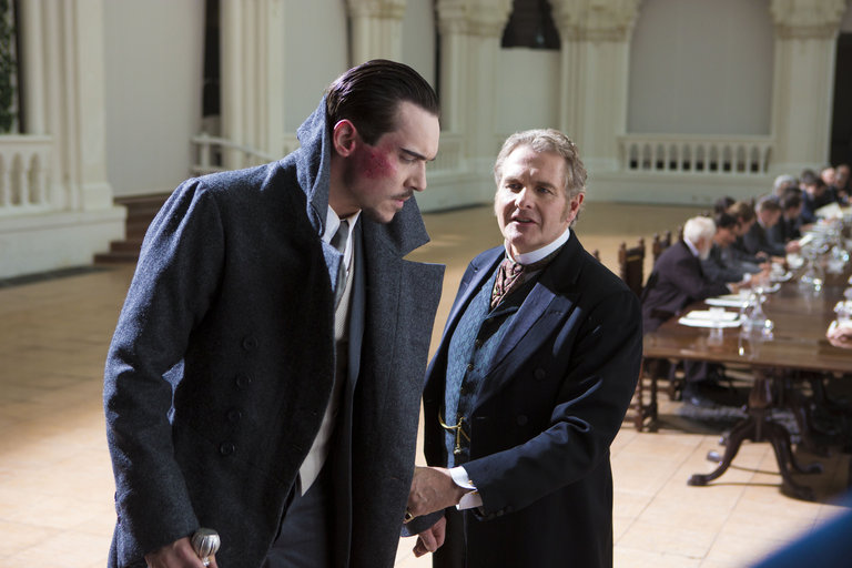 Pictured: (l-r) Jonathan Rhys Meyers as Alexander Grayson, Robert Bathurst as Lord Thomas Davenport -- (Photo by: Jonathon Hession/NBC)