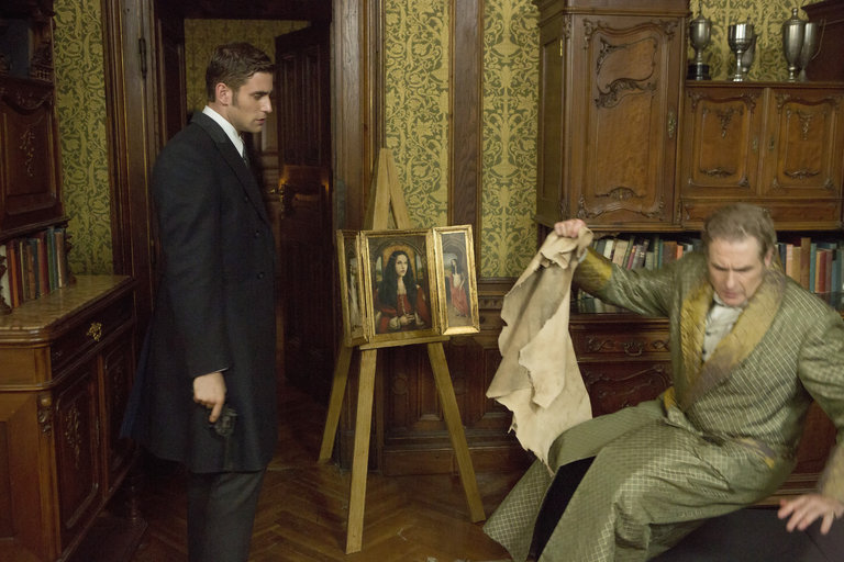 Pictured: (l-r) Oliver Jackson-Cohen as Jonathan Harker, Painting of Ilona, Robert Bathurst as Lord Thomas Davenport -- (Photo by: David Lukacs/NBC)