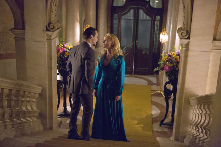Pictured: (l-r) Jonathan Rhys Meyers as Alexander Grayson, Victoria Smurfit as Lady Jayne Wetherby -- (Photo by: David Lukacs/NBC)