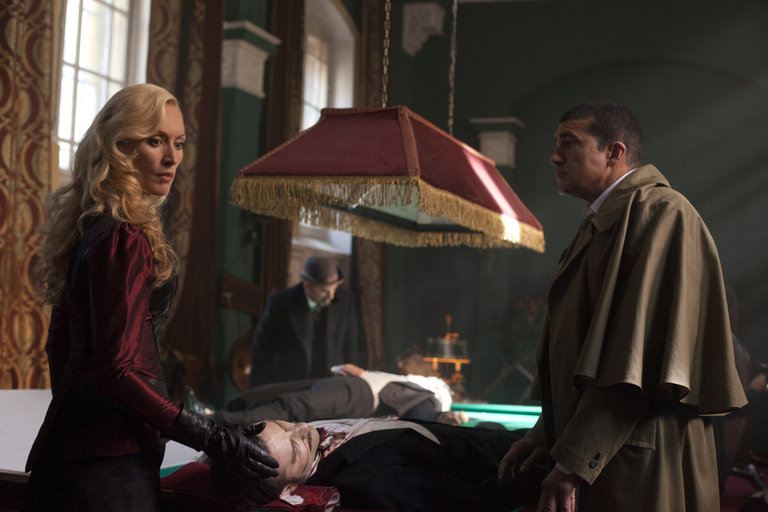 Pictured: (l-r) Victoria Smurfit as Lady Jayne Wetherby, Alastair Mackenzie as Lord Rothcroft, Tamer Hassan as Kaha Ruma -- (Photo by: Egon Endrenyi/NBC)