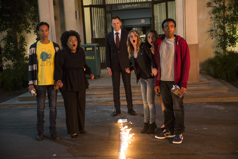 "COMMUNITY -- ""Repilot"" Episode 501 -- Pictured: (l-r) Danny Pudi as Abed, Yvette Nicole Brown as Shirley, Joel McHale as Jeff Winger, Gillian Jacobs as Britta, Alison Brie as Annie, Donald Glover as Troy"