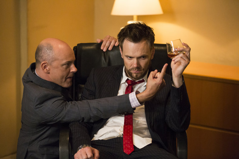 "COMMUNITY -- ""Repilot"" Episode 501 -- Pictured: (l-r) Rob Corddry as Alan Connor, Joel McHale as Jeff"