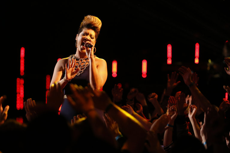 "THE VOICE -- ""Live Show"" Episode 517A -- Pictured: Tessanne Chin -- (Photo by: Trae Patton/NBC)"