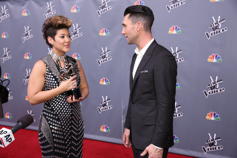 "THE VOICE -- ""Live Finale"" Episode 519B -- Pictured: (l-r) Tessanne Chin, Adam Levine -- (Photo by: Tyler Golden/NBC)"