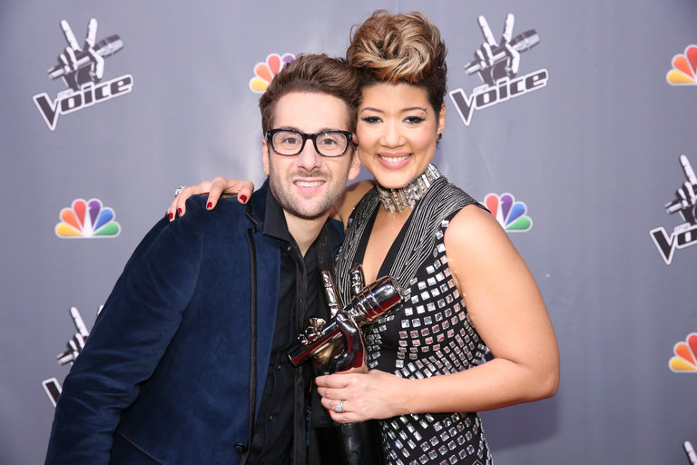 "THE VOICE -- ""Live Finale"" Episode 519B -- Pictured: (l-r) Will Champlin, Tessanne Chin -- (Photo by: Tyler Golden/NBC)"
