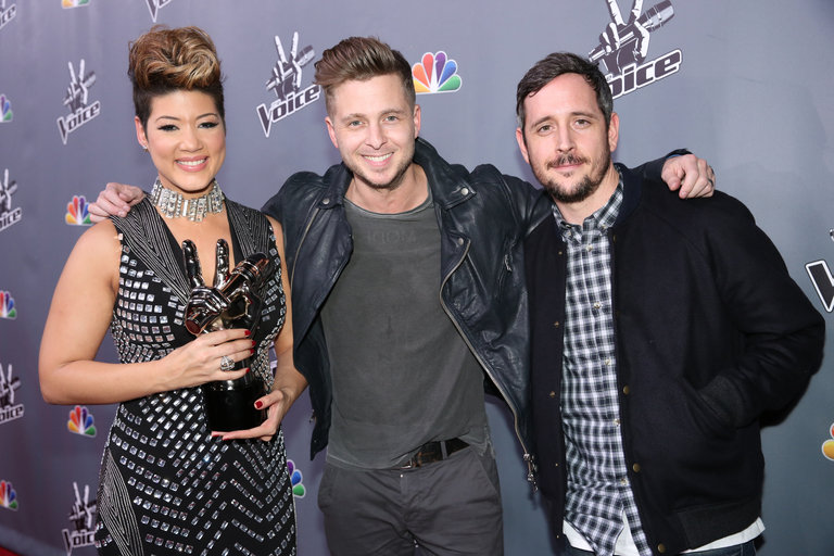 "THE VOICE -- ""Live Finale"" Episode 519B -- Pictured: (l-r) Tessanne Chin, Ryan Tedder of One Republic, Noel Zancanella -- (Photo by: Tyler Golden/NBC)"