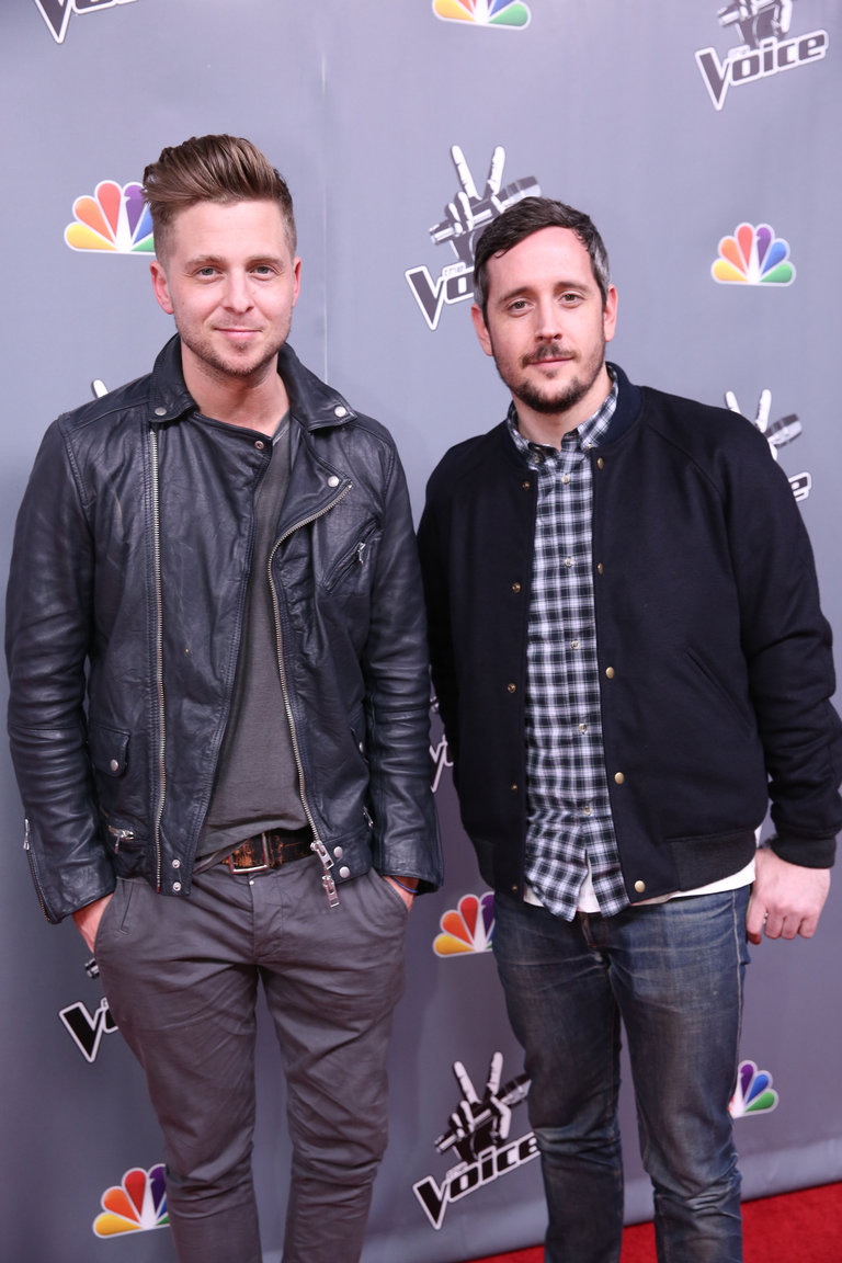 "THE VOICE -- ""Live Finale"" Episode 519B -- Pictured: (l-r) Ryan Tedder of One Republic, Noel Zancanella -- (Photo by: Tyler Golden/NBC)"