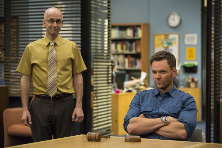 "COMMUNITY -- ""Basic Sandwich"" -- Pictured: (l-r) Jim Rash as Dean Pelton, Joel McHale as Jeff Winger  -- (Photo by: Justin Lubin/NBC)"