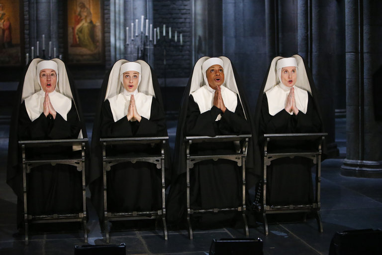 Pictured: (l-r) Jessica Morley as Sister Berthe, Elena Shaddow as Sister Sophia, Audra McDonald as Mother Abbess, Christiane Noll as Margaretta -- (Photo by: Will Hart/NBC)