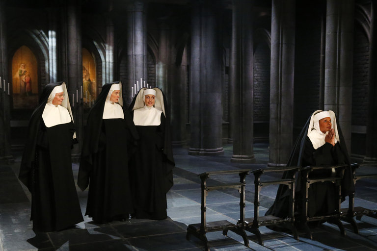 Pictured: (l-r) Jessica Molasky as Sister Berthe, Christiane Noll as Sister Margaretta, Elena Shaddow as Sister Sophia, Audra McDonald as Mother Abbess -- (Photo by: Will Hart/NBC/NBCU Photo Bank)