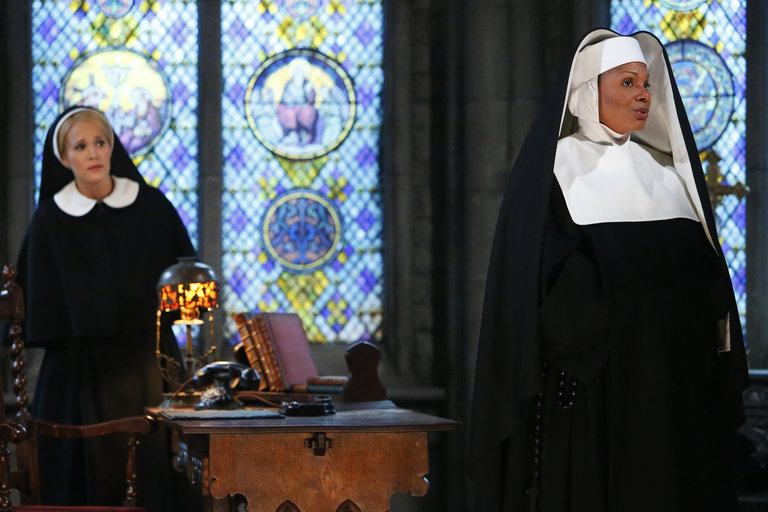 Pictured: (l-r) Carrie Underwood as Maria, Audra McDonald as Mother Abbess -- (Photo by: Will Hart/NBC/NBCU Photo Bank)