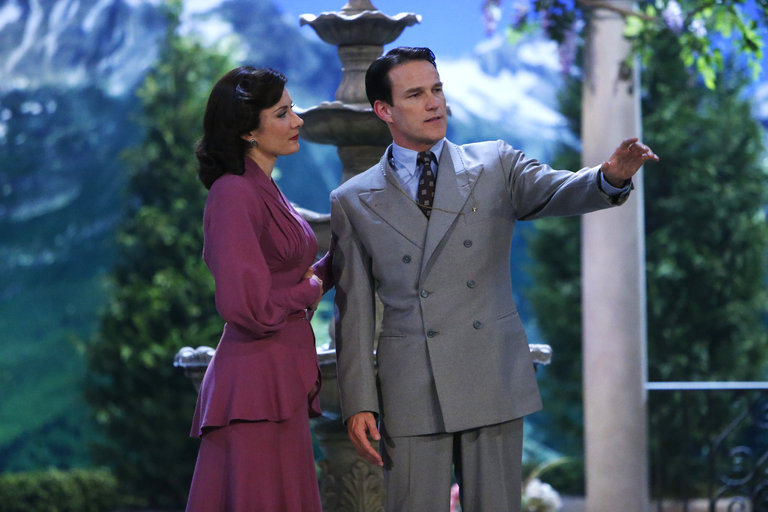 Pictured: (l-r) Laura Benanti as Elsa Schraeder, Stephen Moyer as Captain Von Trapp -- (Photo by: Will Hart/NBC/NBCU Photo Bank)