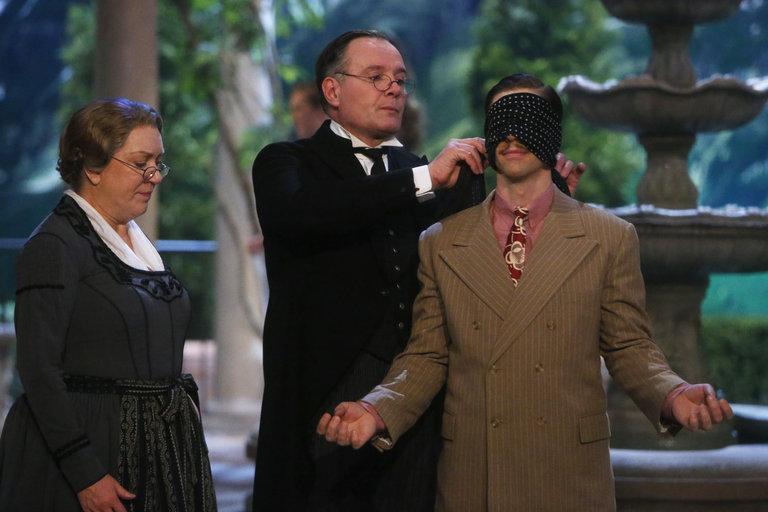 Pictured: (l-r) Kristine Nielsen as Frau Schmidt, CJ Wilson as Herr Zeller, Christian Borle as Max Detweiler -- (Photo by: Will Hart/NBC/NBCU Photo Bank)