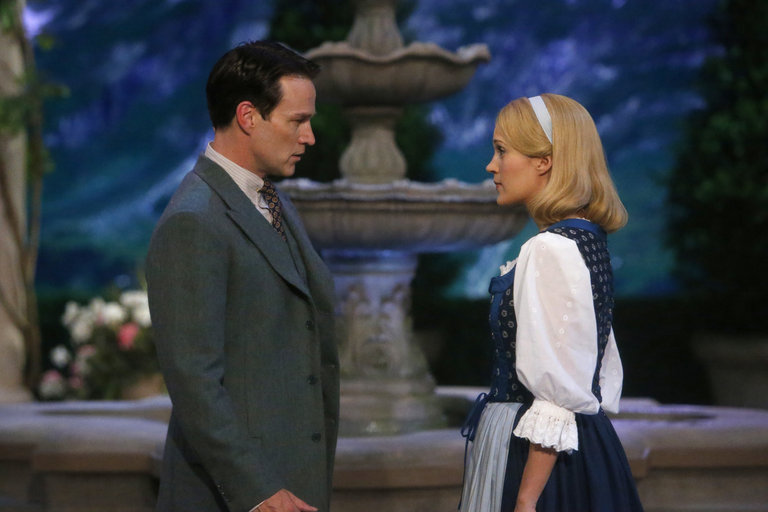 Pictured: (l-r) Stephen Moyer as Captain Von Trapp, Carrie Underwood as Maria -- (Photo by: Will Hart/NBC/NBCU Photo Bank)