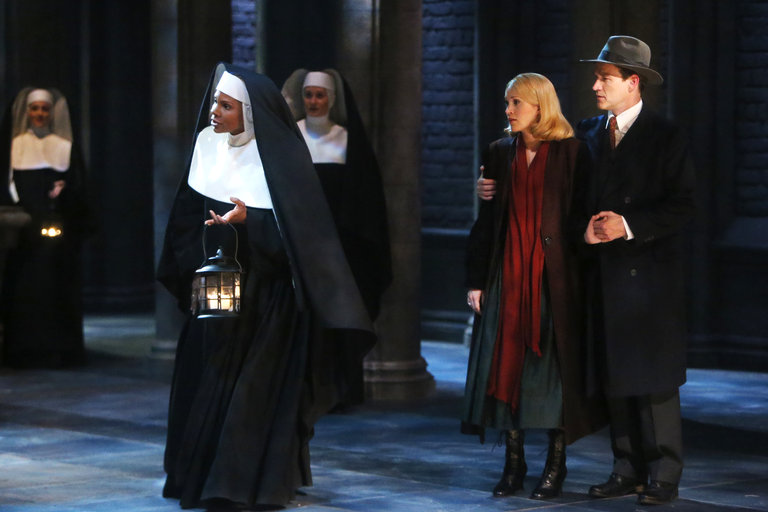 Pictured: (l-r) Audra McDonald as Mother Abbess, Carrie Underwood as Maria, Stephen Moyer as Captain Von Trapp -- (Photo by: Will Hart/NBC/NBCU Photo Bank)