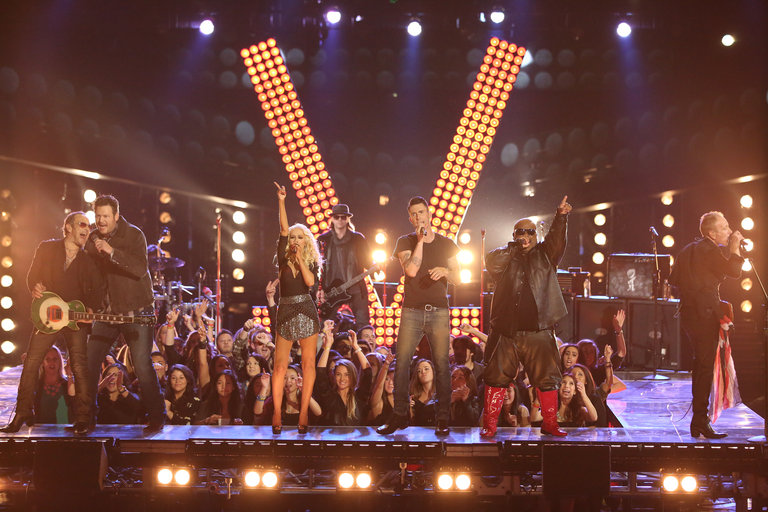 "THE VOICE -- ""Live Show"" Episode 519A -- Pictured: (l-r) Blake Shelton, Christina Aguilera, CeeLo Green, Adam Levine, Def Leppard -- (Photo by: Tyler Golden/NBC)"