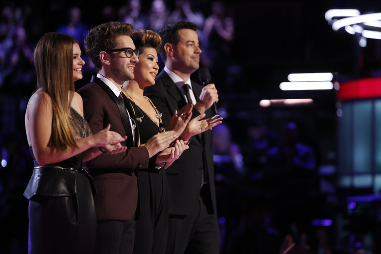 "THE VOICE -- ""Live Show"" Episode 519A -- Pictured: (l-r) Jacquie Lee, Will Champlin, Tessanne Chin, Carson Daly -- (Photo by: Trae Patton/NBC)"