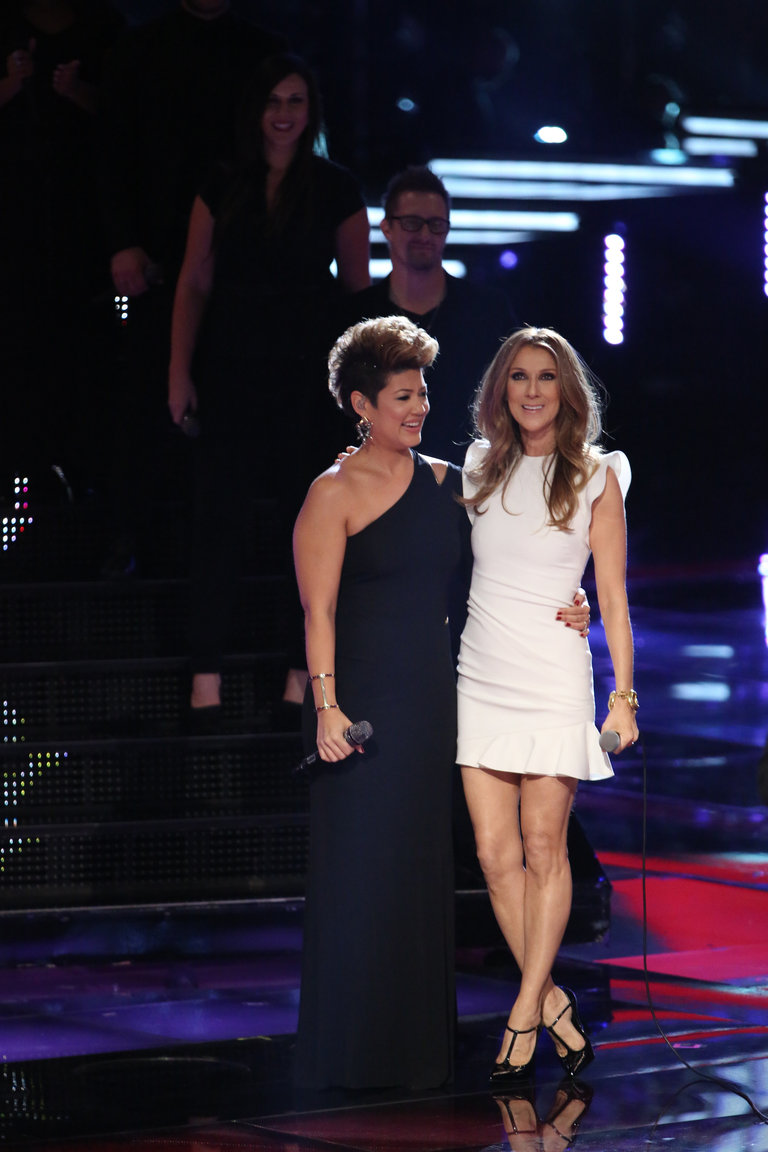 "THE VOICE -- ""Live Finale"" Episode 519B -- Pictured: (l-r) Tessanne Chin, Celine Dion -- (Photo by: Tyler Golden/NBC)"