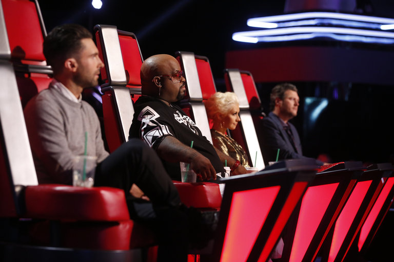 "THE VOICE -- ""Live Show"" Episode 516B -- Pictured: (l-r) Adam Levine, CeeLo Green, Christina Aguilera, Blake Shelton -- (Photo by: Trae Patton/NBC)"